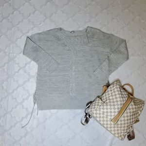 Grey Lace Up Sweater